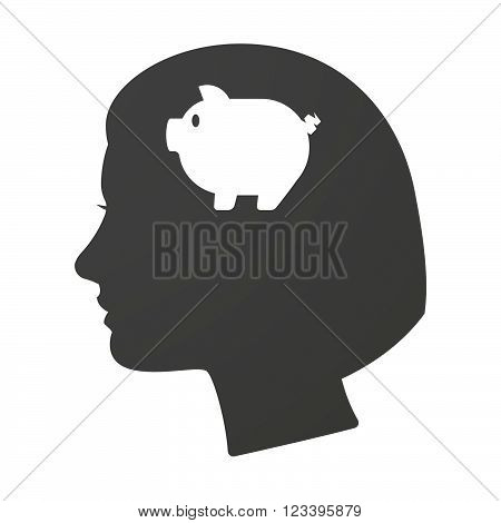 Isoalted Female Head Icon With A Pig