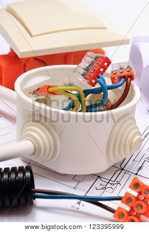 Components for use in installations and electrical diagrams, copper wire connections in electrical box, accessories for engineering work, energy concept