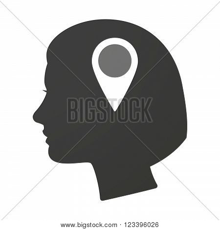 Isoalted Female Head Icon With A Map Mark
