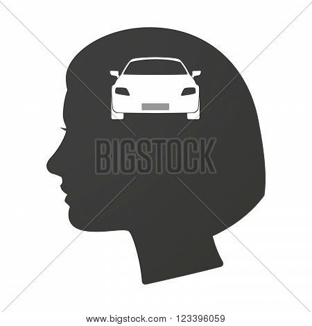Isoalted Female Head Icon With A Car