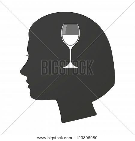 Isoalted Female Head Icon With A Cup Of Wine