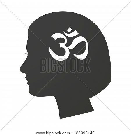 Isoalted Female Head Icon With An Om Sign
