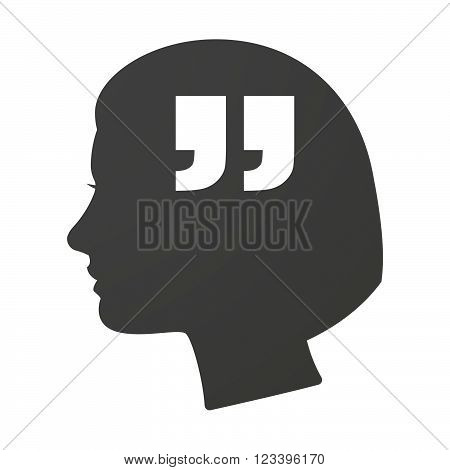Isoalted Female Head Icon With  Quotes