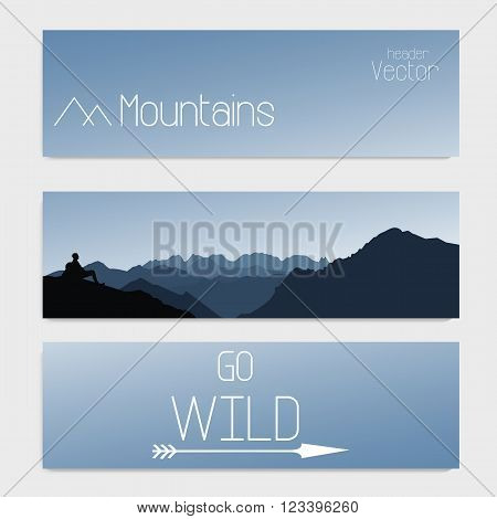 Vector template of three headers with sky and mountains.