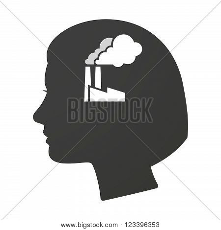 Isoalted Female Head Icon With A Factory