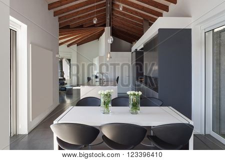 Interior of a loft, wide open space, dining table modern design