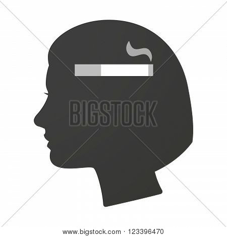 Isoalted Female Head Icon With A Cigarette