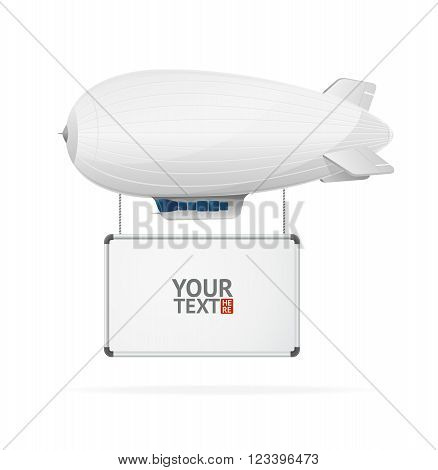 Airship Flying Banner. Place for Your Text. Vector illustration