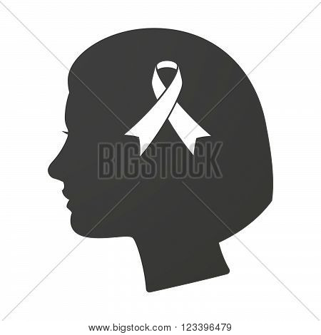 Isoalted Female Head Icon With An Awareness Ribbon