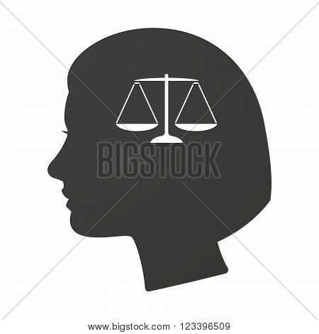 Isoalted Female Head Icon With A Justice Weight Scale Sign