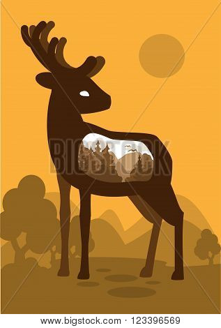 Deer in the forest background with an abstract representation of the world. Vector illustration