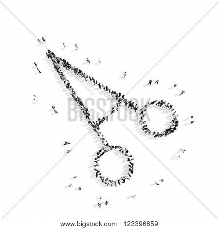 A group of people in theshape of clip, medicine, flashmob.3D illustration.black and white