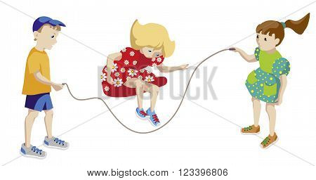 Illustration of boy and two girls playing jumping rope