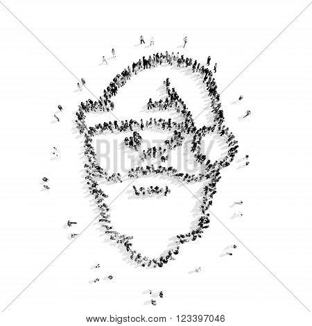 A group of people in the  shape of Santa Claus, Christmas, flashmob.3D illustration.black and white
