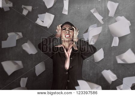 Asian Business Person Get Stress