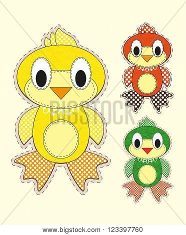 Set Of Cute Cartoon Chick In Flat Design For Greeting Card, Invitation And Logo With Fabric Texture.