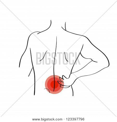 Backache vector illustration isolated on white. Pain icon.