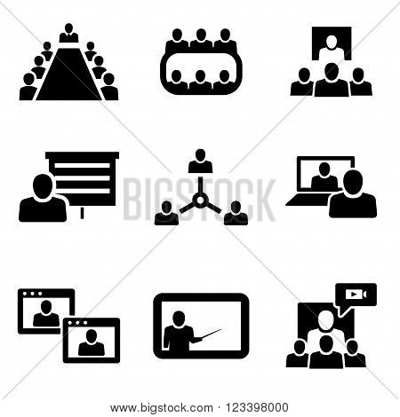 Vector Conference icons set. Business communication on white background