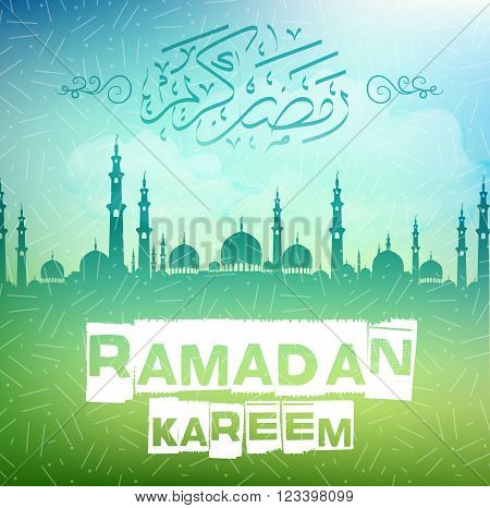 Illustration of Ramadan kareem background with arabic caligraphy and mosque