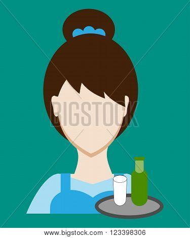 Profession people waitress. Face female uniform. Avatars in flat design. Vector