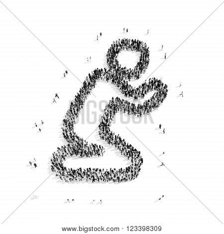 A group of people in the shape of a man praying, religion, flashmob.3D illustration.black and white