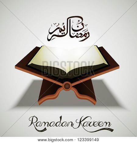 Illustration of Open holy Islamic religious book Quran Shareef on shiny white background