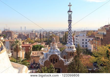 Barcelona, Spain - November 10, 2015: Park Guell entrance building. The Park Guell is a public park system composed of gardens and architectonic elements. The park was built between 1900 and 1914 and was designed by Antoni Gaudi.