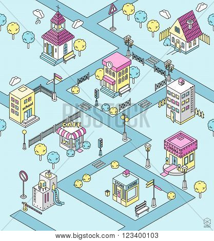 Seamless pattern with Isometric city. Black and white vector illustration with cinema cottage church school shop cafe town hall factoryapartment house. Icons