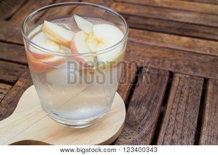 Close-up glass of apple infused water, stock photo