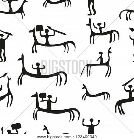 Rock painting seamless pattern. Black and white background.