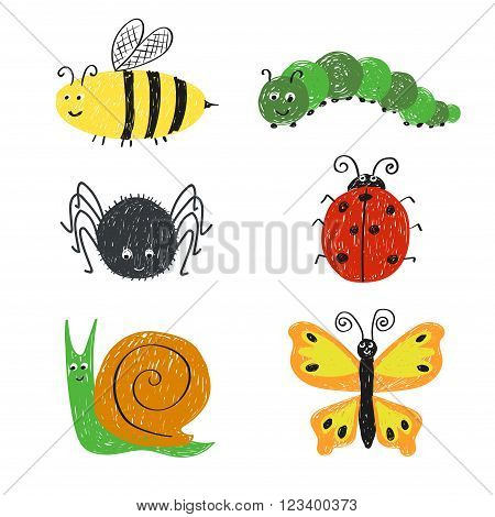 Cute insects set. Cartoon bee, ladybug, snail, spider and butterfly isolated on white.