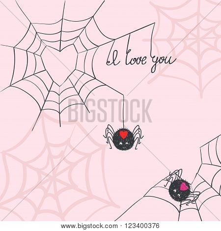 Cute spiders in love. Romantic background. Valentine's day.