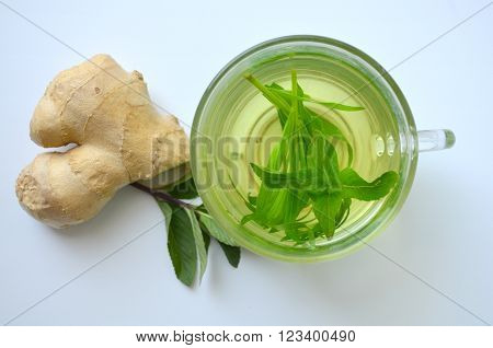 Green tea - broth with tarragon, mint and ginger