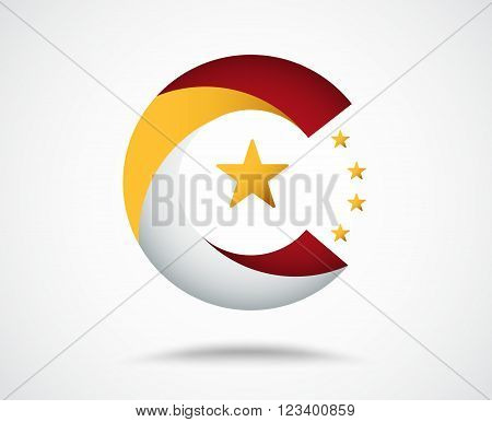 China logo design with twist material concept. vector stock.