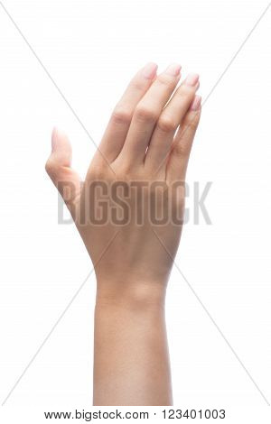 Hand Holding Virtual Mobile Phone Isolated On White Background