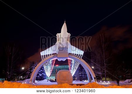 Perm, Russia, January 17.2016 Monument Mig On The Rise 'night