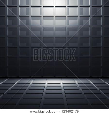 Abstract Dark Blue Shining 3 D Interior