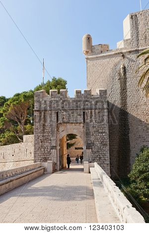 DUBROVNIK CROATIA - FEBRUARY 19 2016: Outer Ploce Gate at Revelin Fortress in Dubrovnik (UNESCO site) Croatia. Built in 1450 by Simeone della Cava