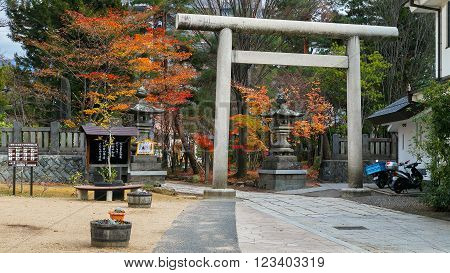 MATSUMOTO JAPAN - NOVEMBER 21 2015: Yohashira Jinja shrine founded in Meiji period facing the Nawate street a tourist attractions in Matsumoto City