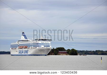 HELSINKI / FINLAND - July 27 2013: Silja Line vessel is cruising arround island near the port of Helsinki