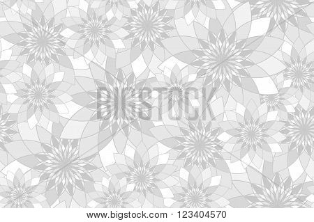 Seamless pattern with grey floral guilloche. Seamless guilloche pattern. Seamless floral pattern. Gray seamless background. Guilloche design line art pattern. Vector illustration