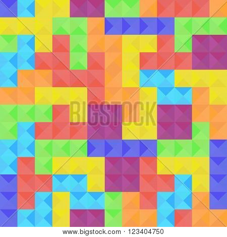 Seamless pattern of Tetris game colorful elements tetriminos in flat style. Vector illustration