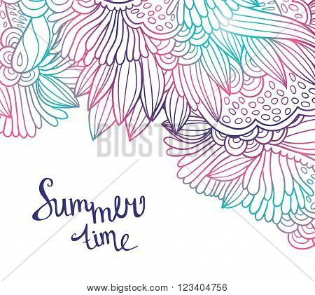 Decorative element border. Abstract invitation card. Abstract sea background psychodelic vector