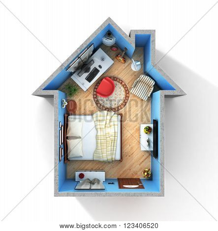 Concept of home. Flat full of things in form of house in top view. Rent buy and realization concept.