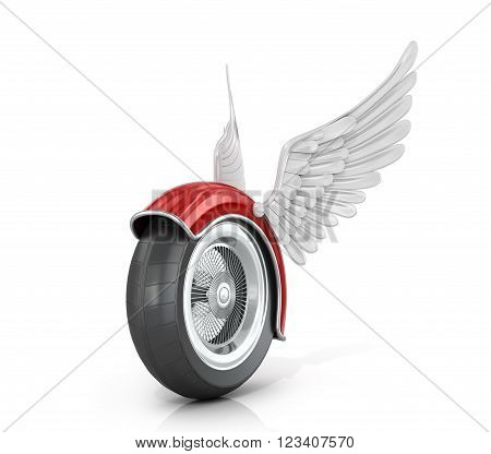 Wheel motorcycle with wings on a white background. 3D