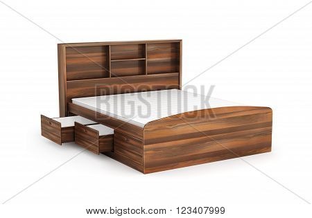 double bed with drawer from below isolated on white background