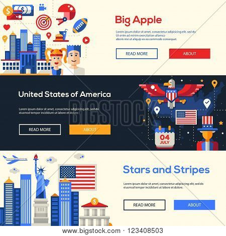Welcome to the United States of America travel website flat design headers, banners set with famous Americana symbols