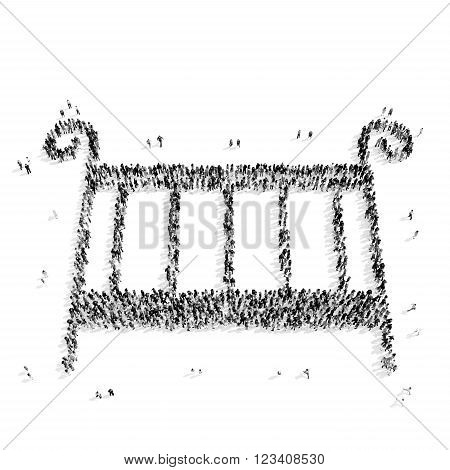 A group of people in the shape of a cot, a child, a flash mob.3D illustration.black and white