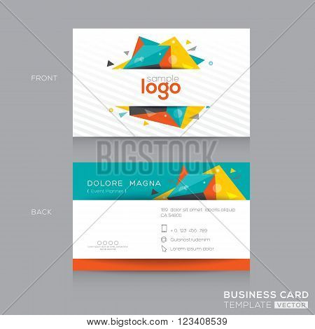 Abstract polygon shape business card design template