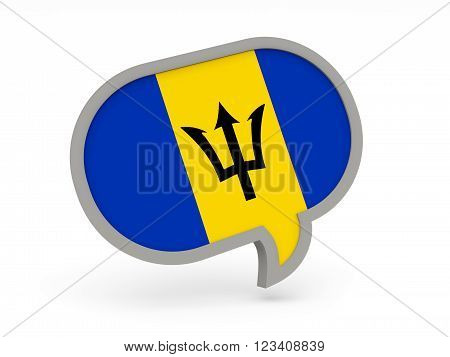 Chat Icon With Flag Of Barbados